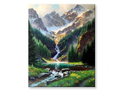 Horská tůň s vodopádem