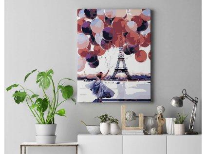 Malování podle čísel - Žena s balónky u Eiffelovky