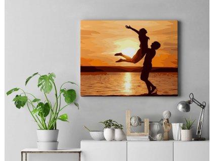 Malování podle čísel - Zamilovaný pár při západu slunce II