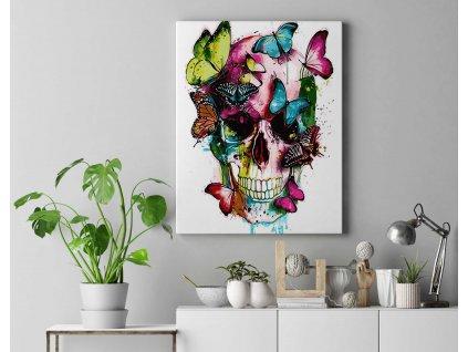 Malování podle čísel - Lebka s motýli