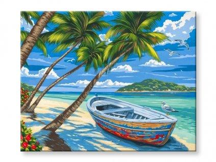 Malování podle čísel - Loďka u moře