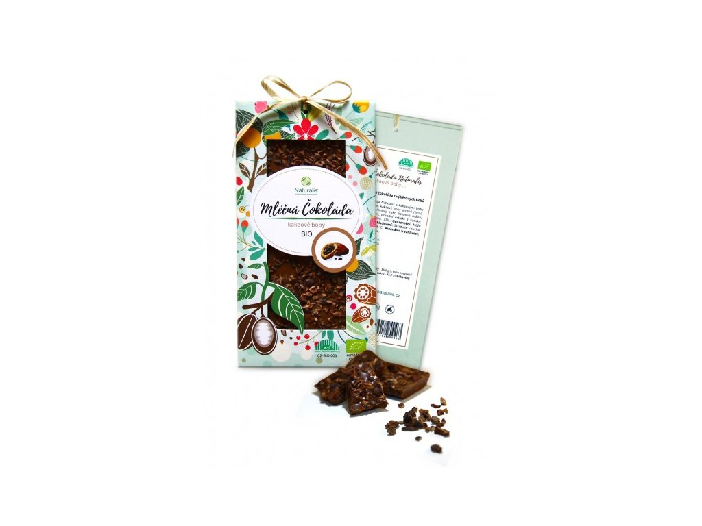 bio cokolada naturalis s kakaovymi boby 80g