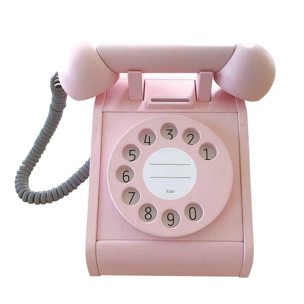 dreveny telefon ruzovy kiko