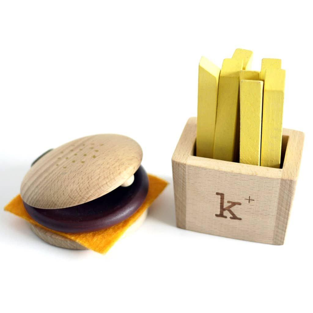 hudebni set dreveny hamburger hranolky