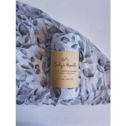 muselinova plenka prikryvka deka eukalyptus babys breath