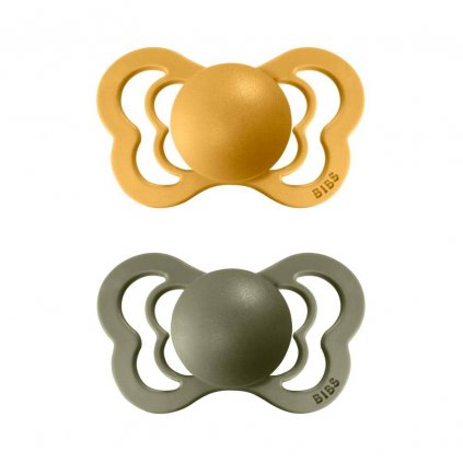 BIBS Couture ortodonticky cumlik z prirodniho kaucuku 2ks HoneyBee Olive