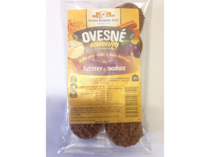 Celozrnné sušenky ovesné - Švestky a skořice 50g