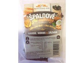Celozrnné sušenky špaldové ghí - Karob, kokos a zázvor 50g