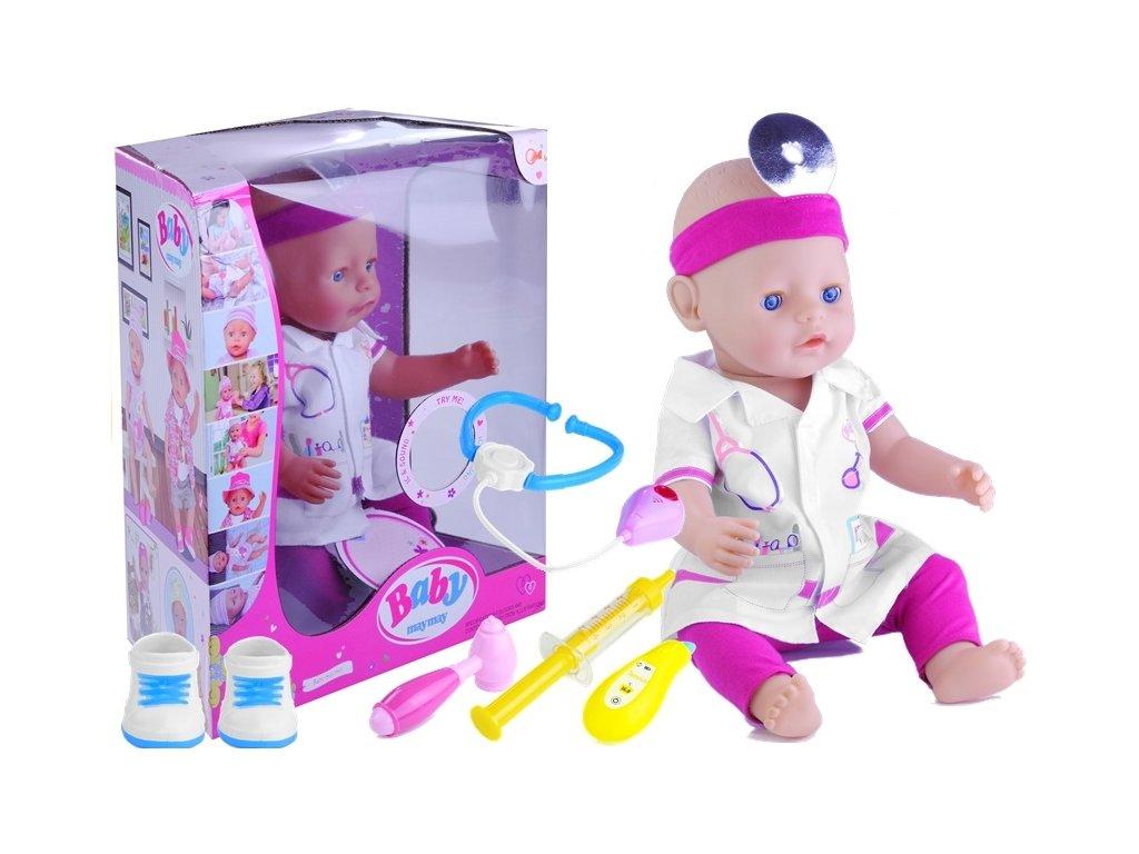 MP BABY MAY MAY – Interaktívna bábika – lekárka, oblečenie, hovorí, pije, 43 cm LE3014