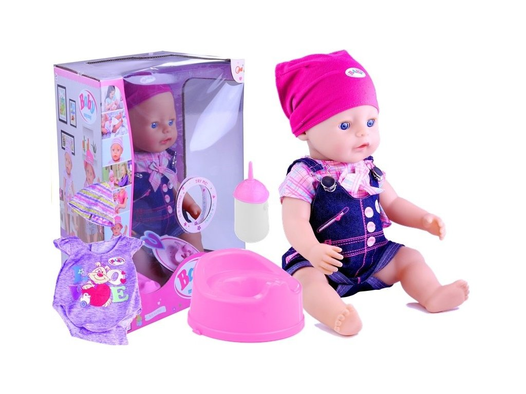 Interaktívna bábika BABY MAY MAY Maly pretekar liesek hračky hračkárstvo nočník ciká pyžamko čiapka (1)