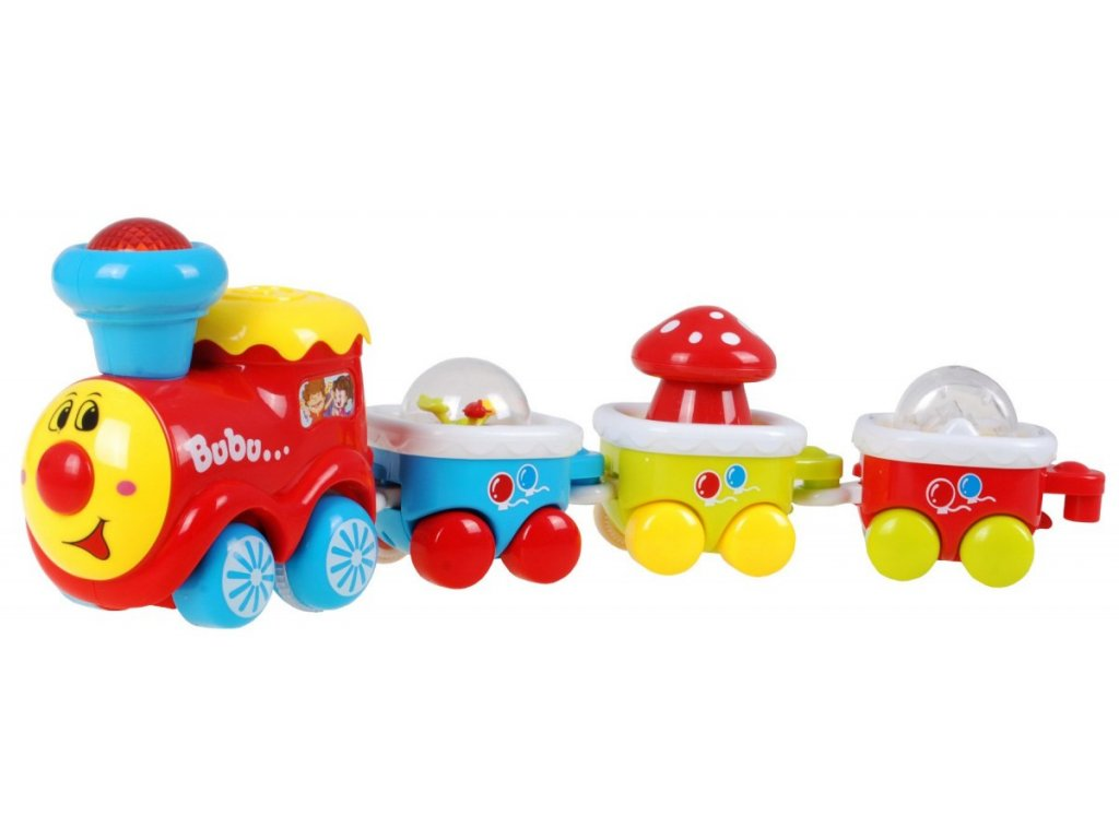 Veselý vláčik BUBU lokomotíva vozeň melódie zvuky svetielka vlak pre deti malypretekar (2)