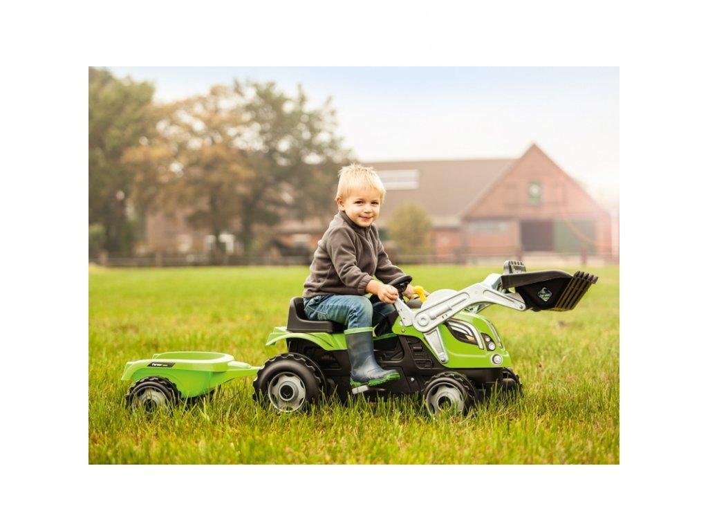 Smoby Traktor na pedále Farmer MAx malypretekar s nakladačom a prívesom (5)