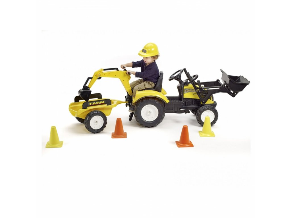 Falk Traktor na pedále Farm nakladač príves prilba 4 kužele bagrová lyžica malypretekar (3)