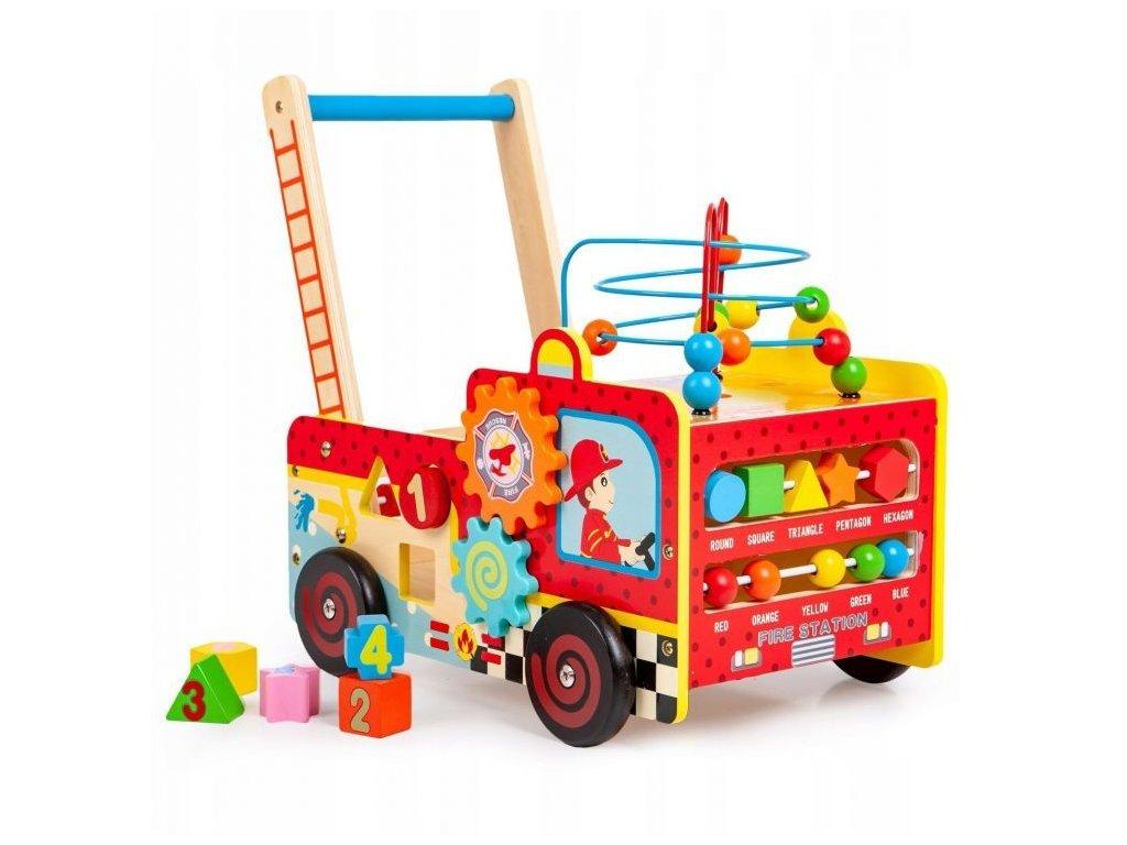 Eco Toys Drevené hasičské vozidlo chodítko malypretekar (1)