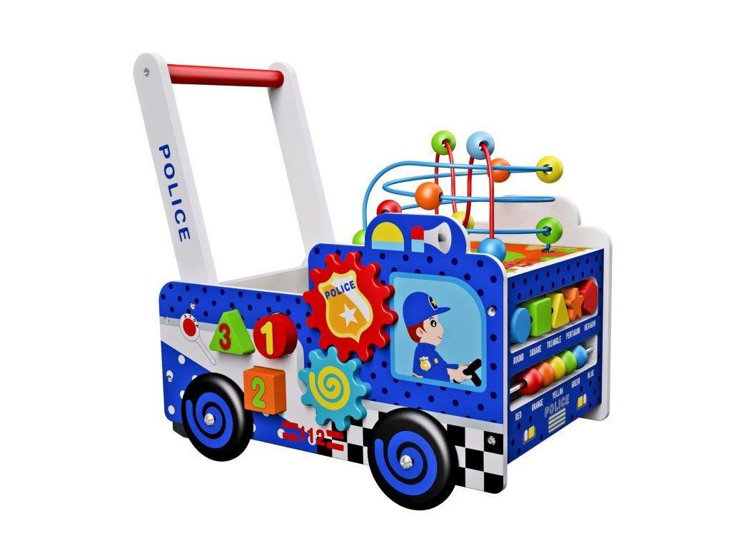 Eco Toys Drevené policajné vozidlo chodítko malypretekar (1)