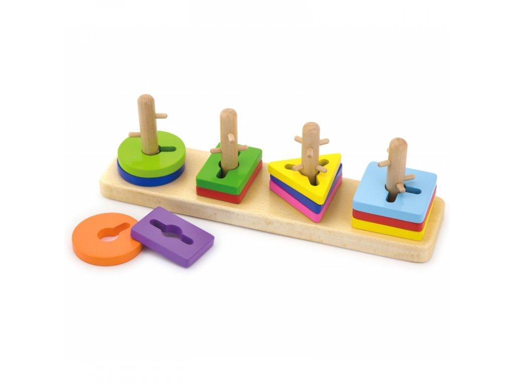 Viga Toys Drevené kocky s triedičom tvarov