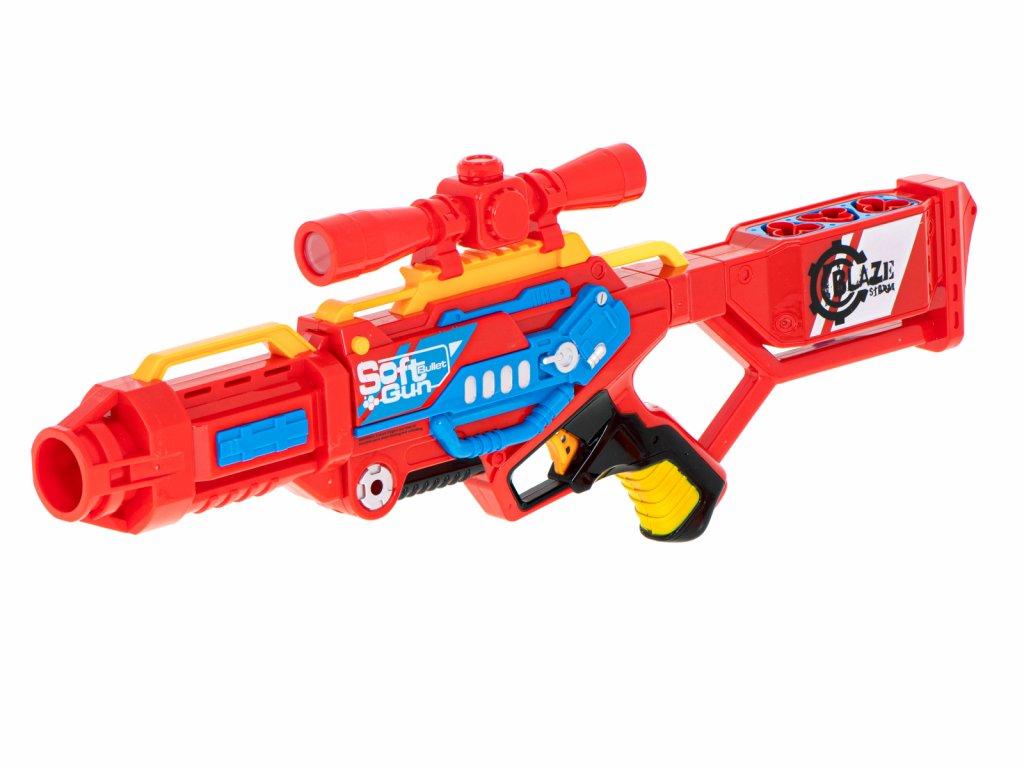 BLAZE STORM Detská puška SOFT RED + 20 penových nábojov malypretekar (7)
