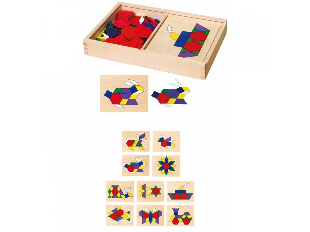 Viga Toys Drevené geometrické mozaiky 148 ks malypretekar (1)