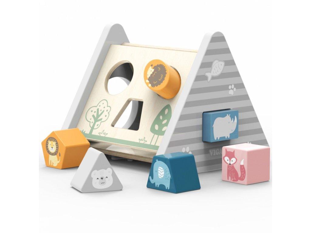 Viga Toys Drevená edukačná pyramída ANIMAL malypretekar (4)