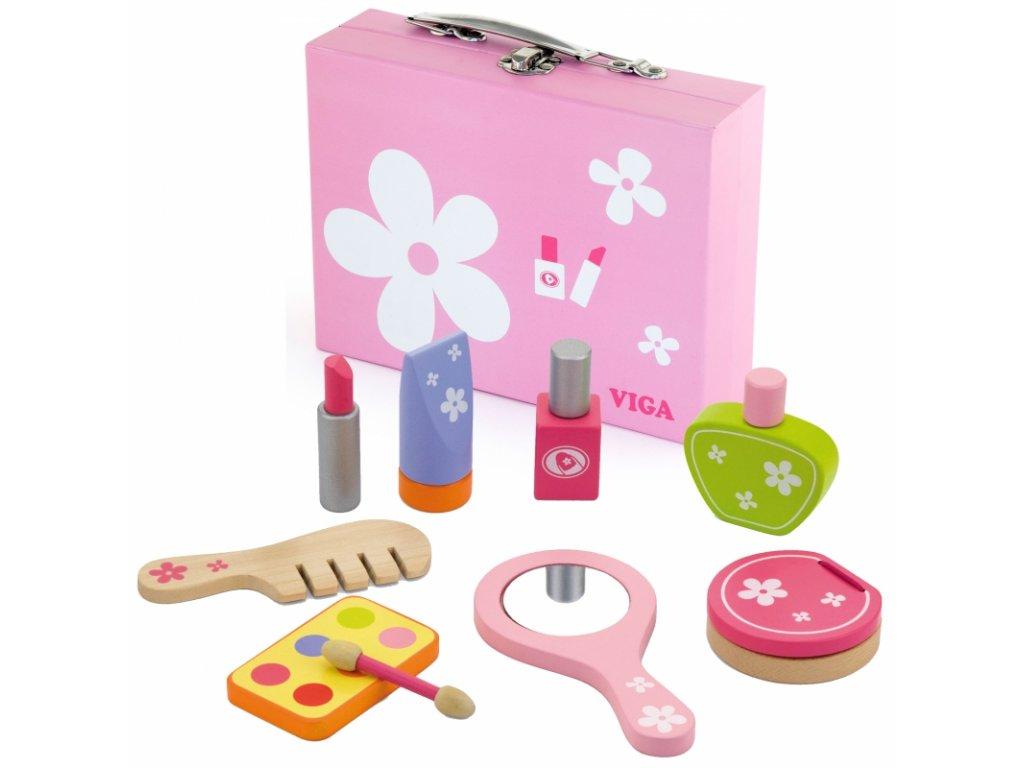Viga Toys Drevený kozmetický kufrík (4)