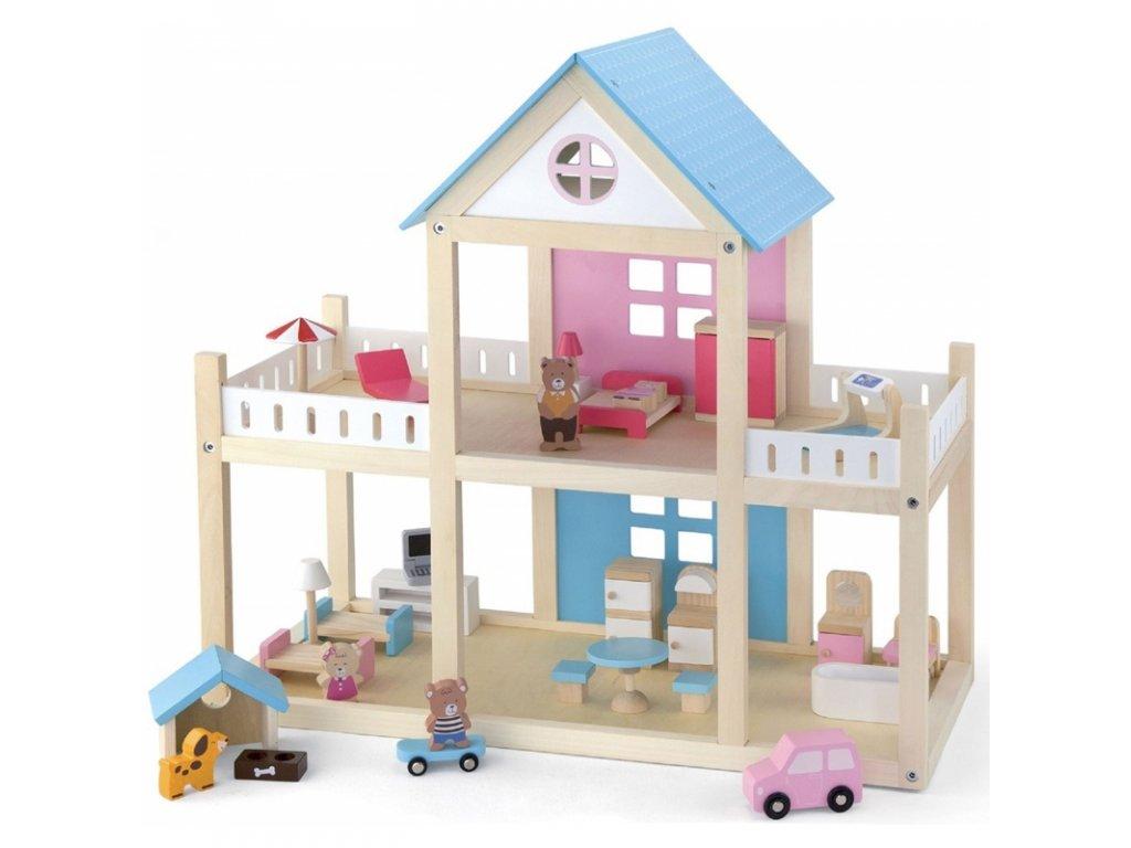 Viga Toys Drevený domček pre bábiky MEBELKY (3)