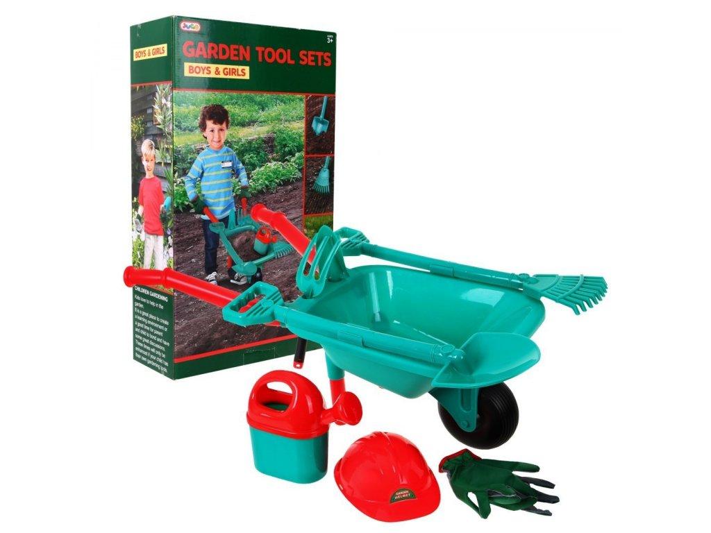 Detská záhradná sada fúrik, hrable, lopata, rukavice, krhla, prilba (7)