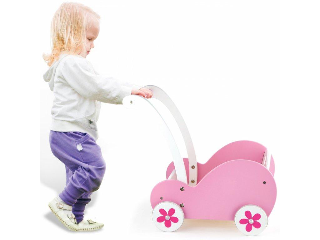 VIGA TOYS Drevený kočík pre bábiky Drevené chodítko (2)