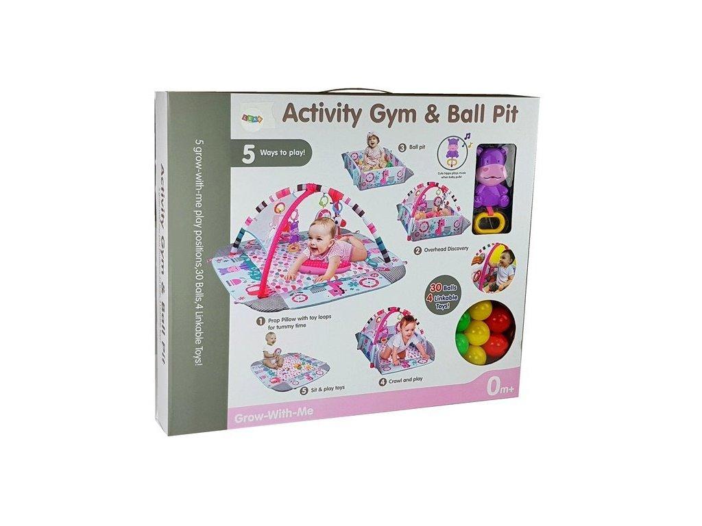 Vzdelávacia hracia podložka pre deti s guličkami 5v1 PINKY LOVE (7)