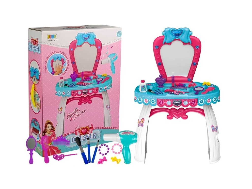 Dievčenský kozmetický stolík so svetlom a doplnkami AMALIA toaletný stolík pre dievčatá hračky pre malé parádnice (1)