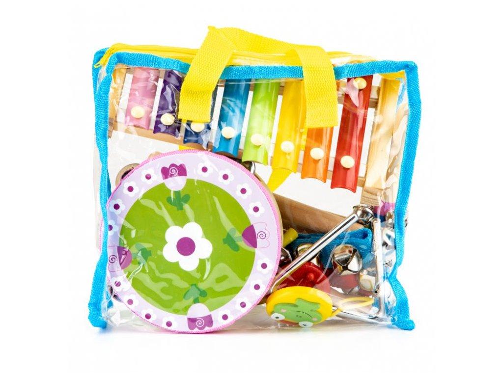 EcoToys Detské hudobné nástroje 14 ks detské drevené hudobné nástroje (2)