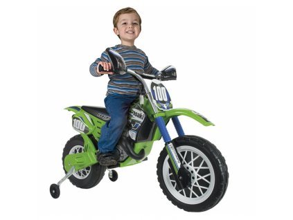 Elektrická motorka Kawasaki Cross 6V INJUSA malypretekar liesek nafukovacie kolesá do 30 kg (1)