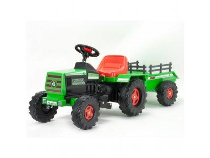 Injusa Elektrický traktor Basic 6V malypretekar zelený traktor s prívesom s vlečkou hračky (2)