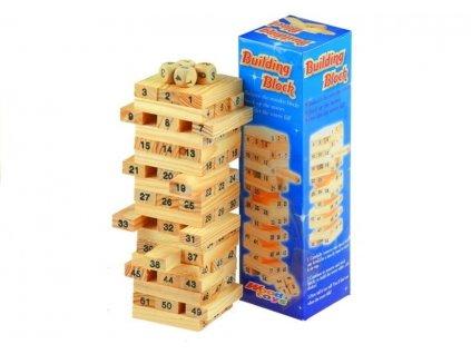 Akrádová hra Jenga s kockami 54 dielov
