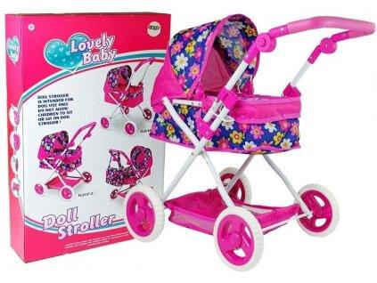 Kočík pre bábiky Lovely Baby kvietkovaný