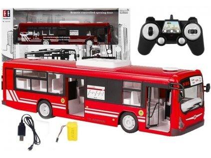 Mestský autobus na diaľkové ovládanie 2,4 GHz červený