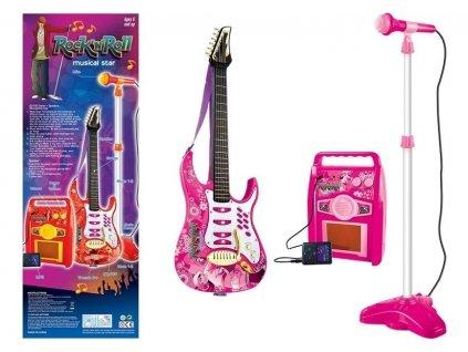 """Gitara s mikrofónom Rock""""nRoll ružová"""