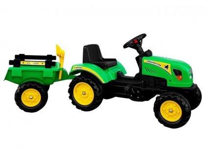 Šliapací traktor s vlečkou BRANSON zelený