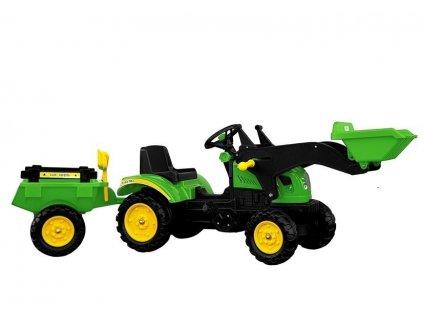 Šliapací traktor s nakladačom a vlečkou BRANSON zelený