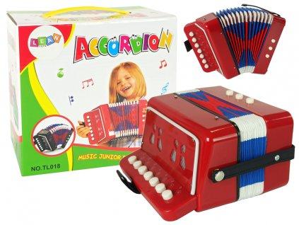 Detský akordeón Harmonika červená