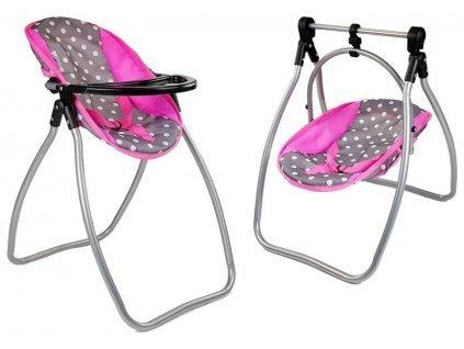 Hojdačka a stolička na kŕmenie pre bábiky Alice 2v1 Sivo Ružová