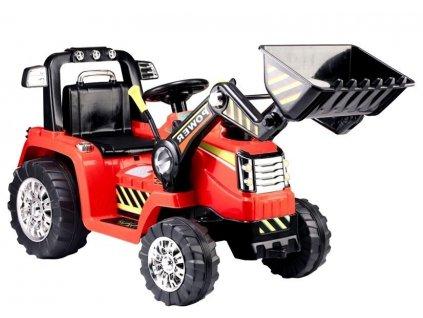 Elektrický traktor POWER s čelným nakldačom ZP1005 červená farba