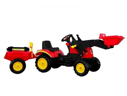Šliapací traktor s nakladačom a vlečkou BRANSON červený
