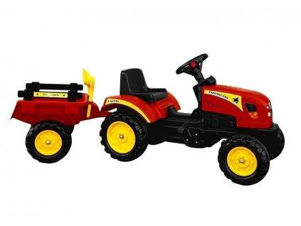 Šliapací traktor s vlečkou BRANSON červený