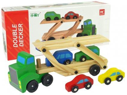 Drevený kamión s autíčkami Double Decker