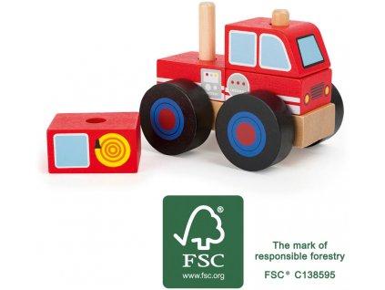 Small Foot Drevené skladacie auto hasiči