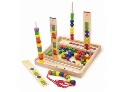 Viga Toys Drevená edukačná hra Logické korálky malypretekar (1)