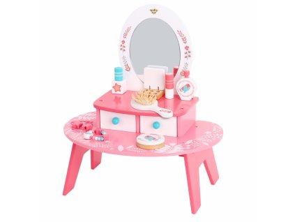 TOOKY TOYS Ružový drevený toaletný stolík so zrkadlom PINK kozmetický stolík pre dievčatá hračky pre dievčatá malá parádnica (3)