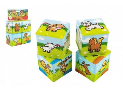 Vzdelávacia kocka Moje prvé zvieratká 4 ks mäkká kocka pre detičky hračky pre najmenších hračky pre batoľatá (2)