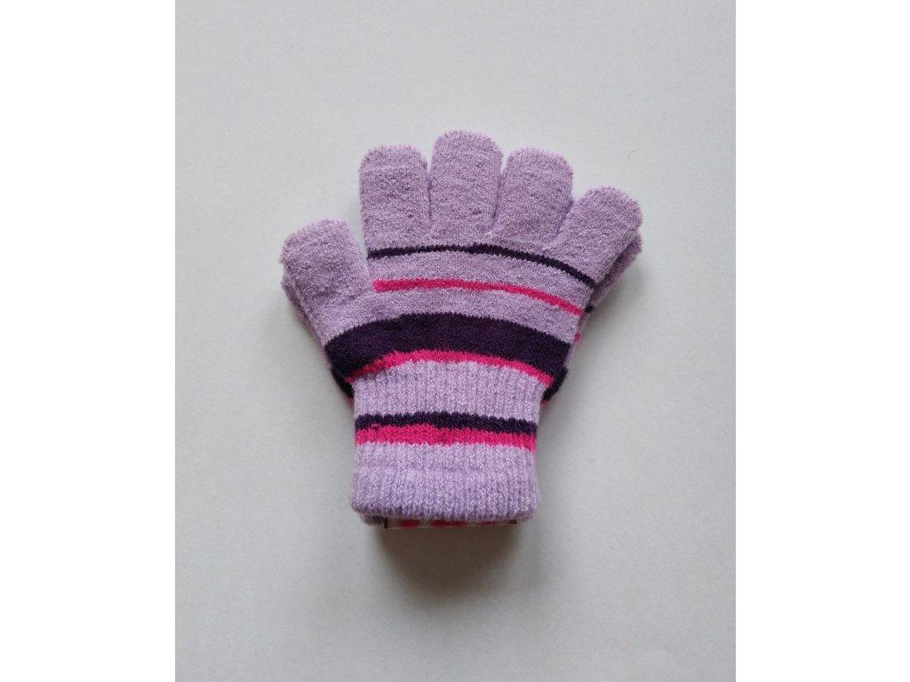 RDX dětské pletené prstové rukavice pruhované lila
