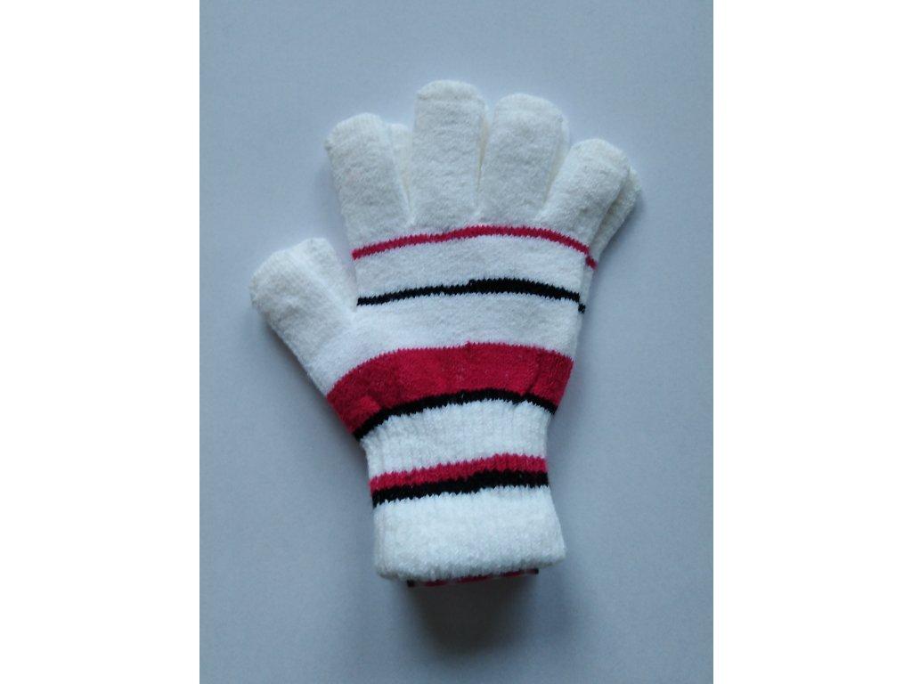 RDX dětské pletené prstové rukavice pruhované bílé